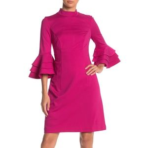 Trina Turk Dylan Tiered Sleeve Mock Neck Dress 6
